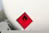 Flammable Sign Behind a Truck