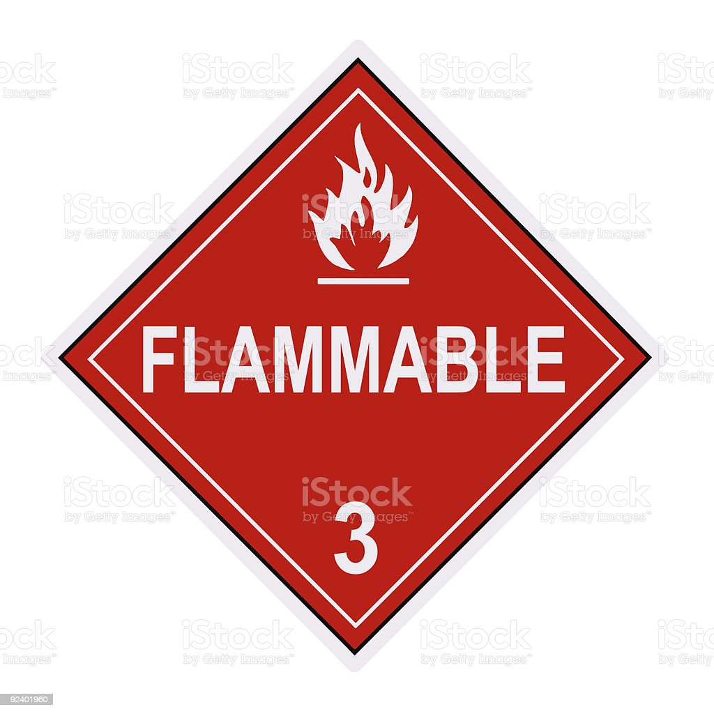 Flammable Warning Label stock photo