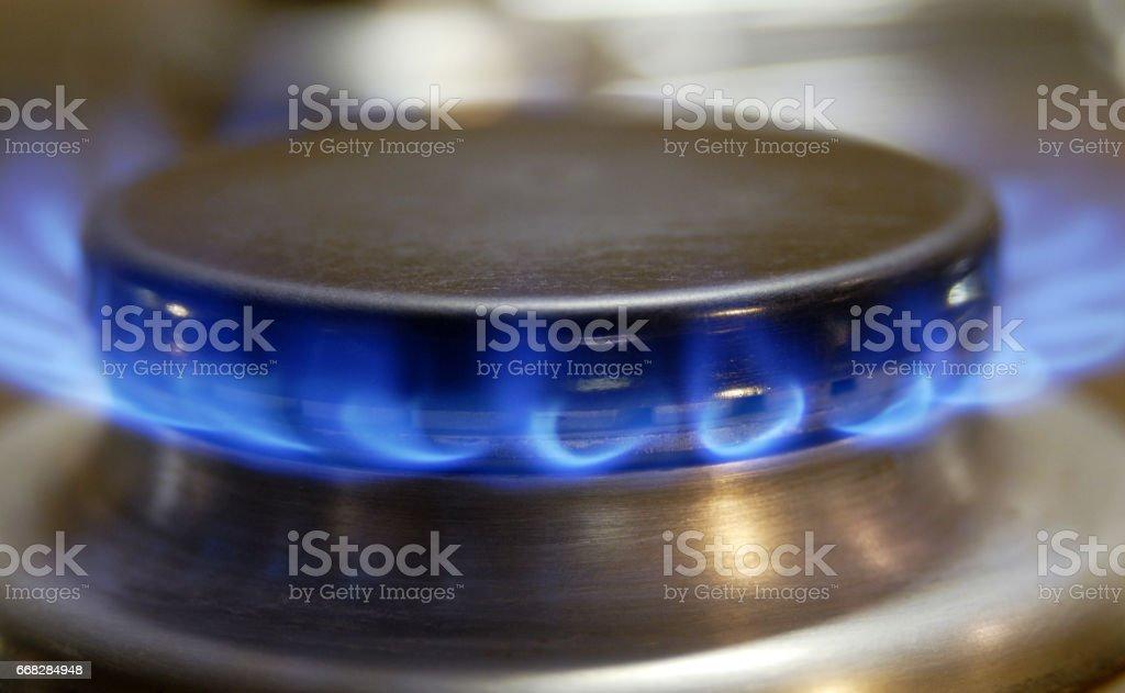 Flamme eines Gasherdes stock photo