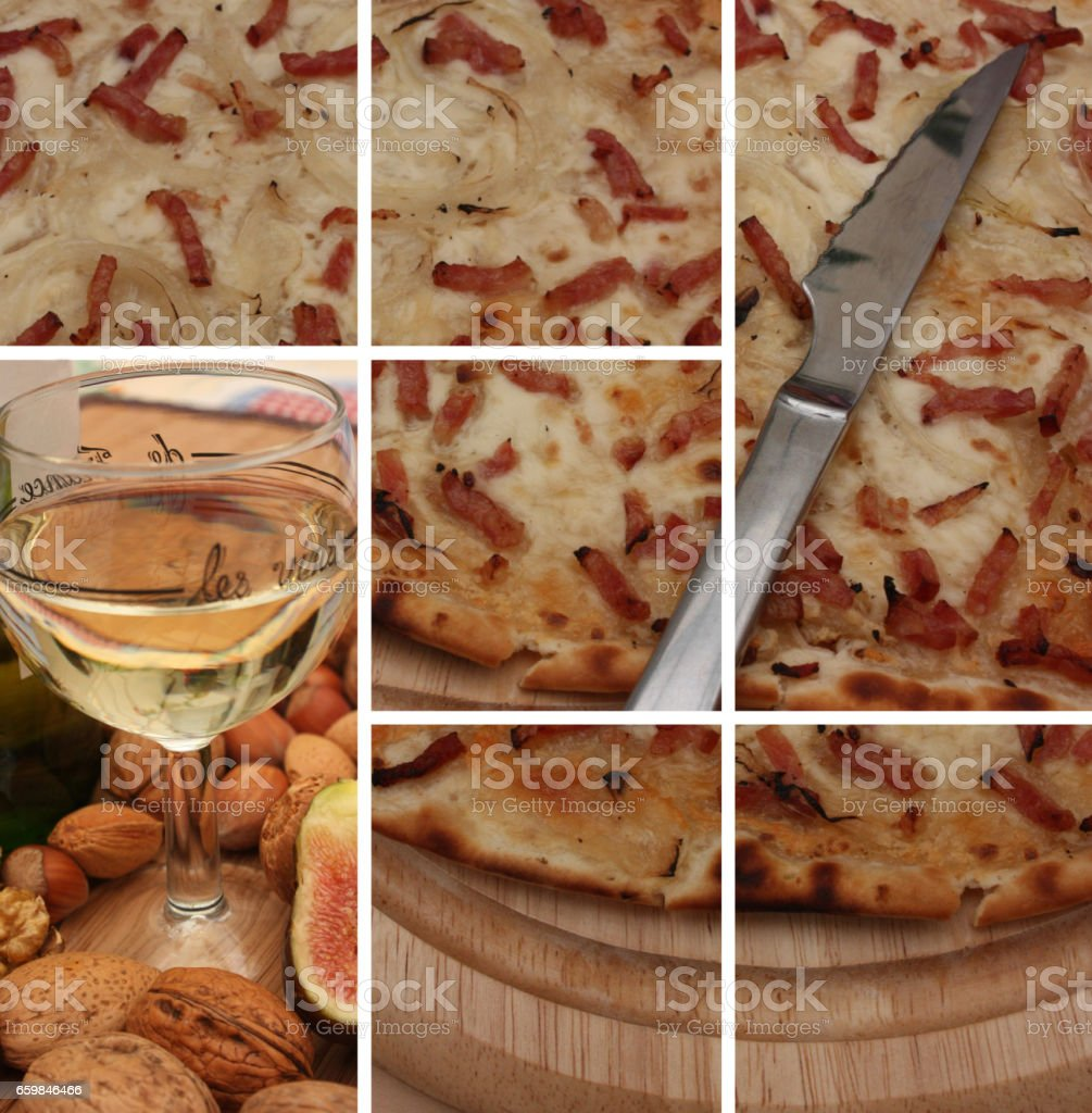 Flammekueche - Tarte flambée - Cuisine Alsacienne stock photo