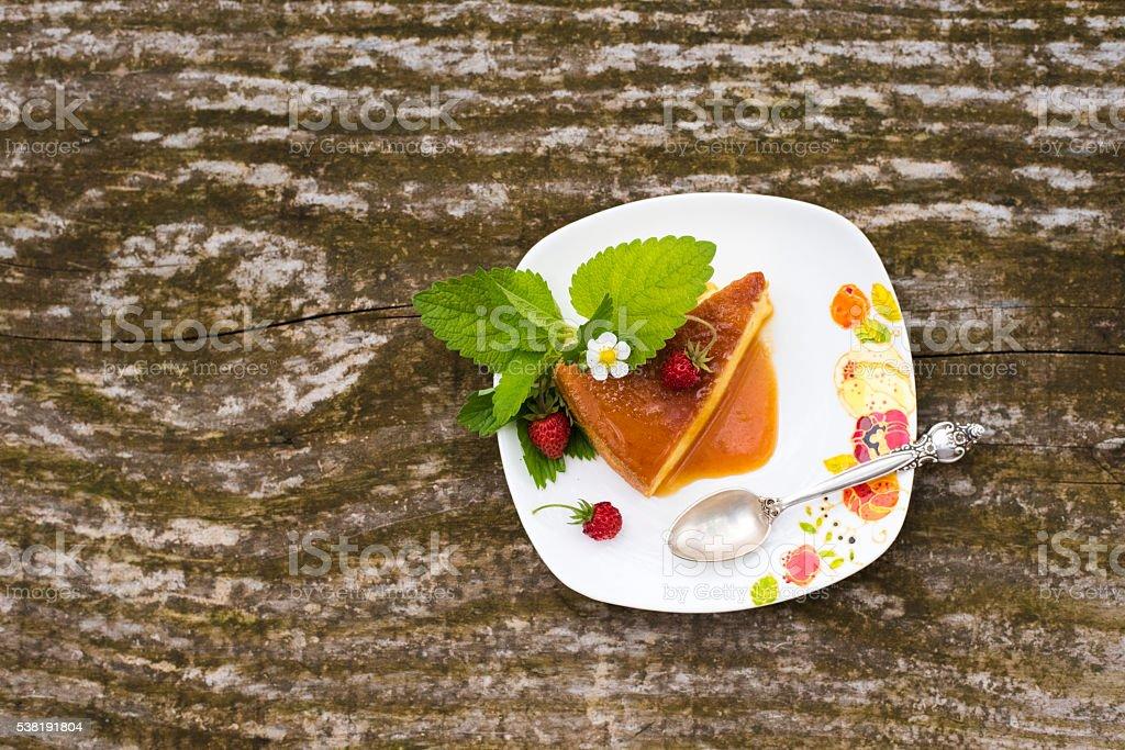 Flan creme caramel dessert stock photo