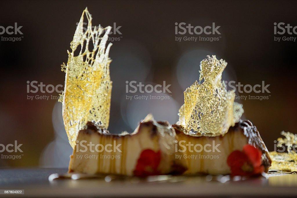 Flan garnished with caramel stock photo