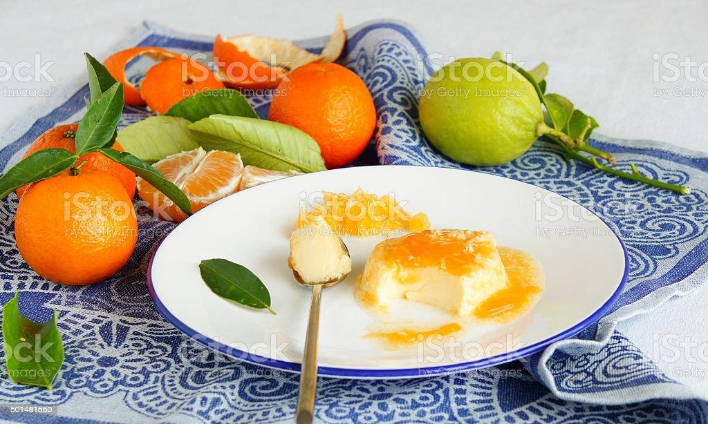 flan with orange topping - spanish egg pudding dessert stock photo