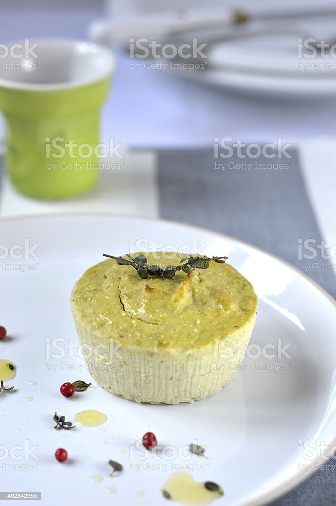 Flan with ricotta and green peas. stock photo