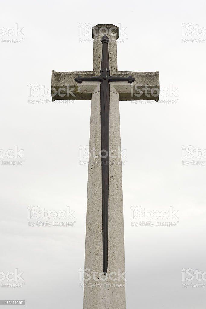 Flanders memorial cross cemetery remembering Great War stock photo