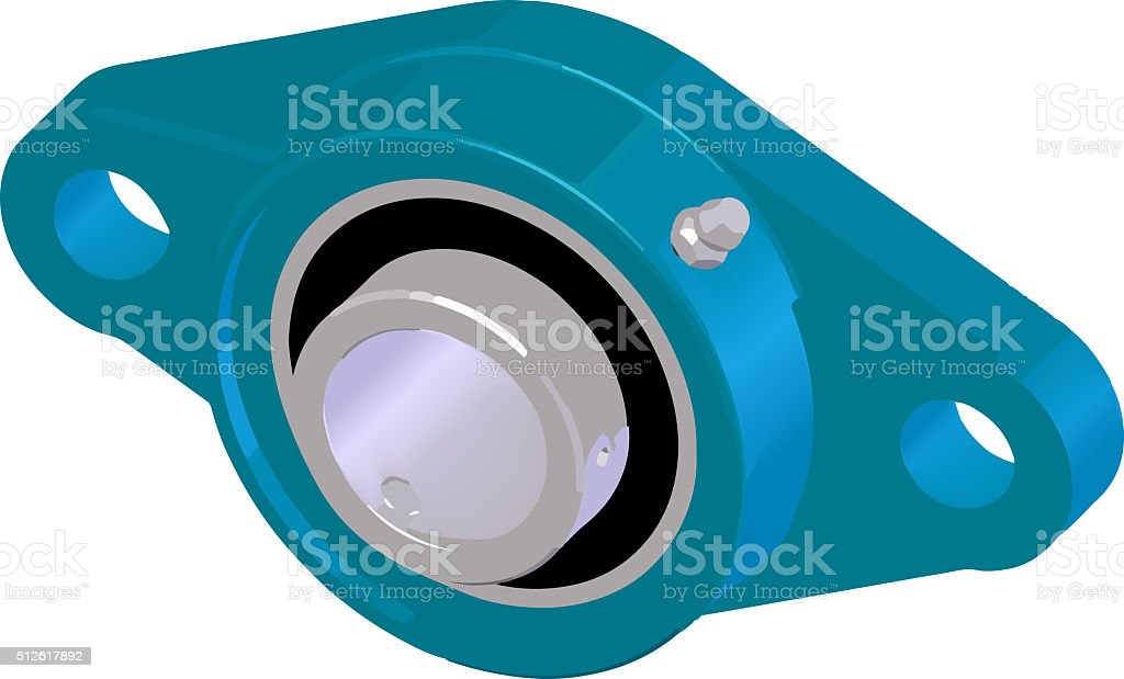 Flange bearing unit illustration (housing). stock photo