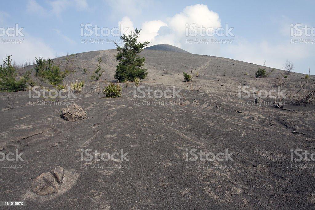 Flank of an active volcano, Anak Krakatau. stock photo