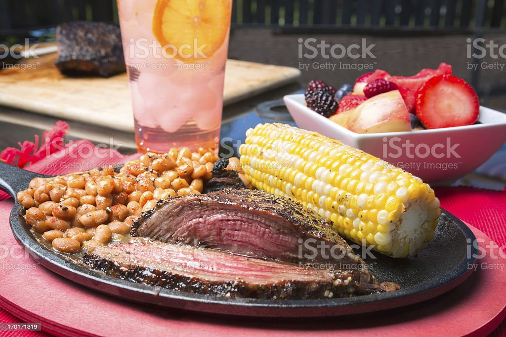 Flank Steak on a Sizzling Plate stock photo