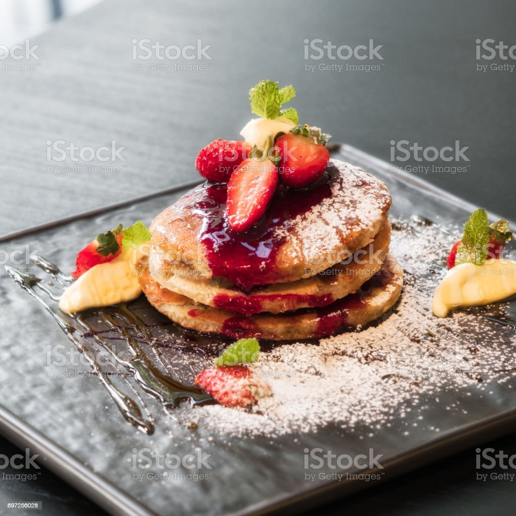 Flapjacks for breakfast stock photo