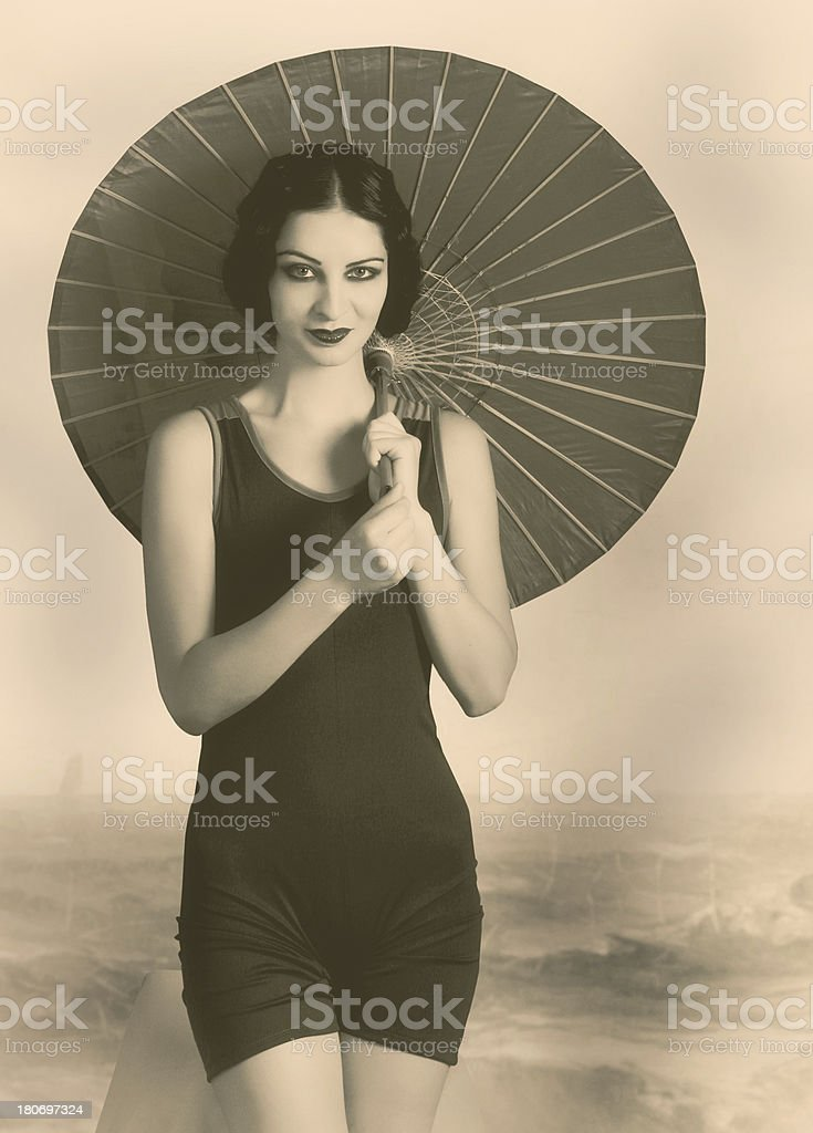 Flapper girl.Art Deco style. royalty-free stock photo