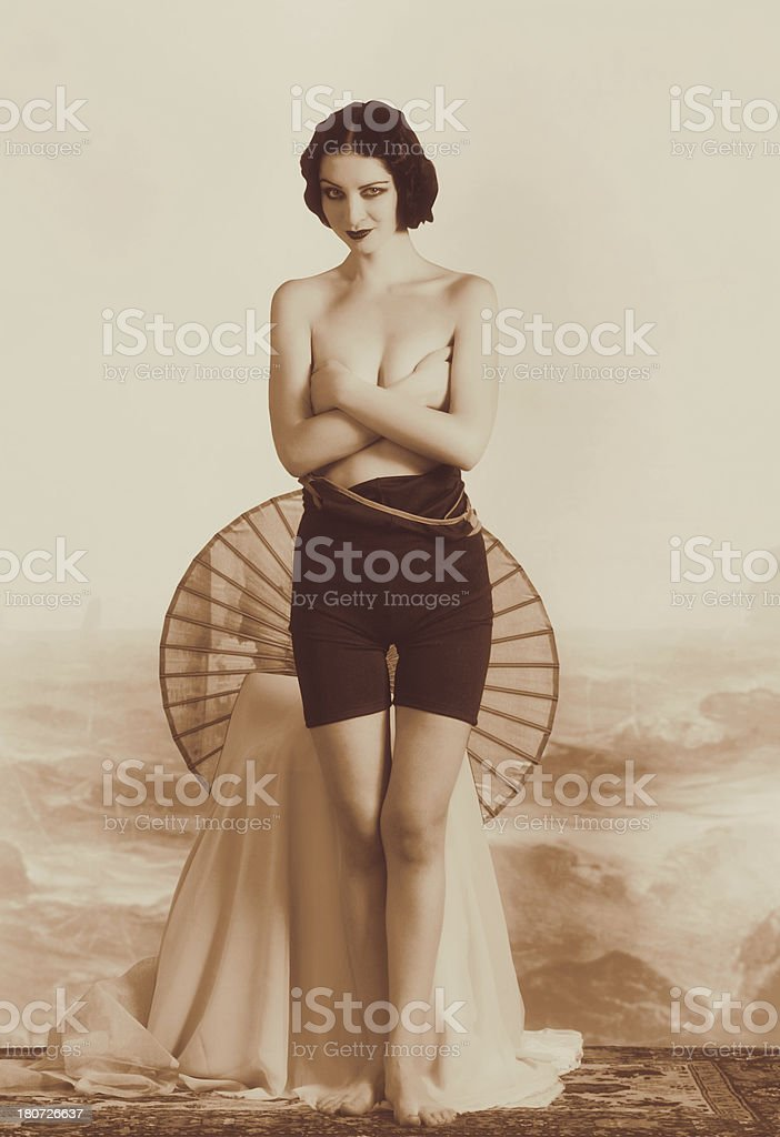 Flapper girl.Art Deco style. stock photo
