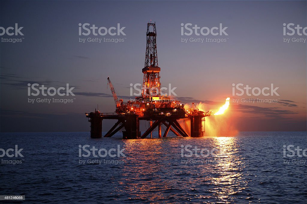 Flare on Rig stock photo