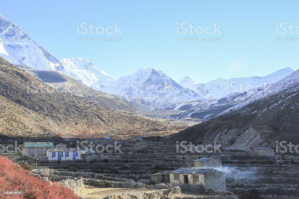 flare sunlight cabin  from everest trek route stock photo
