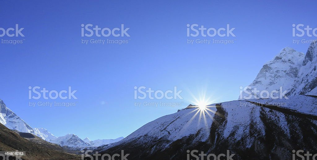flare sunlight cabin  from everest trek route royalty-free stock photo