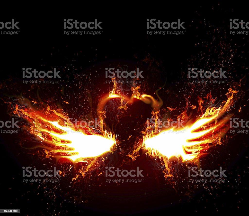 Flaring heart vector art illustration