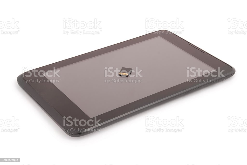 Flash card on the tablet PC (Clipping path) stock photo