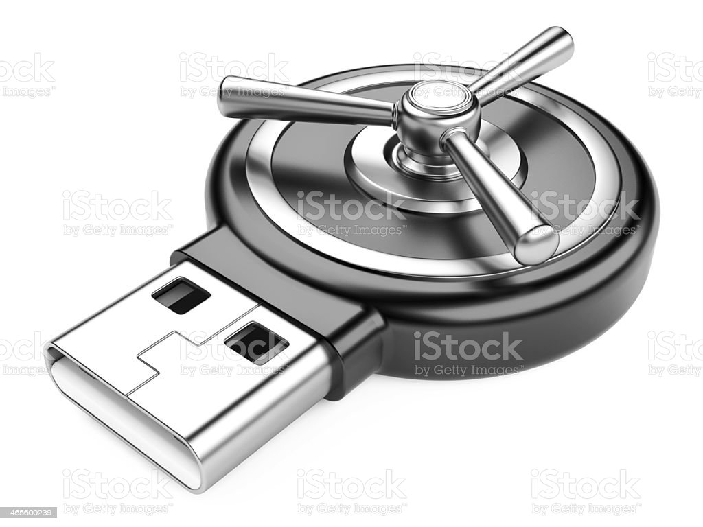 USB flash drive and combination Lock royalty-free stock photo