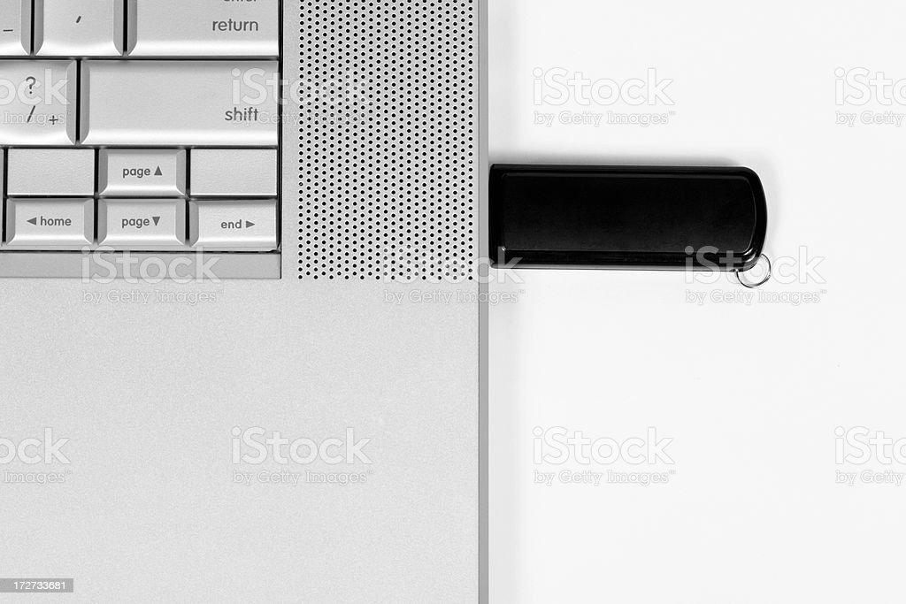 USB Flash Drive in Laptop royalty-free stock photo