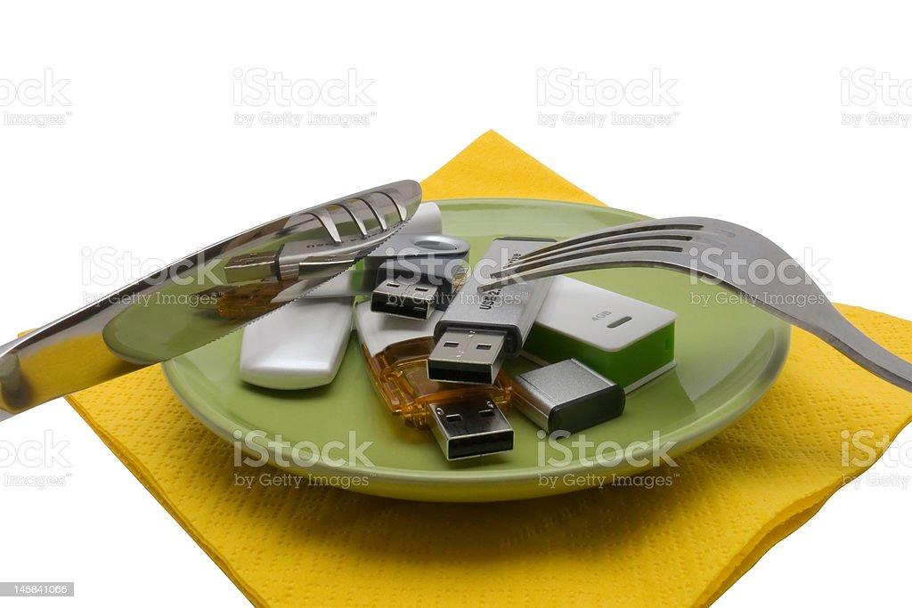 USB flash drive on saucer royalty-free stock photo