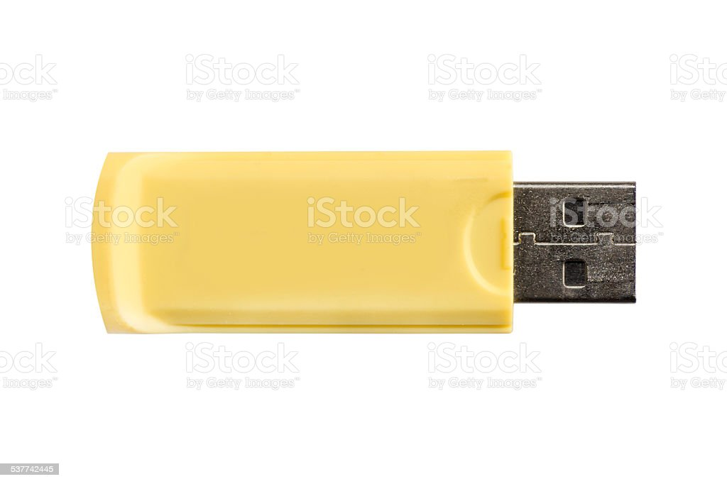USB flash drive yellow memory stick isolated on white background stock photo