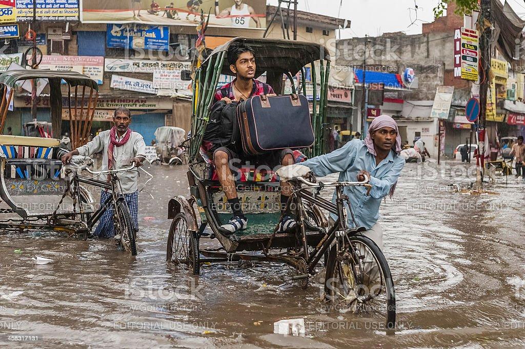 Flash flood during monsoon, Varanasi, India. stock photo