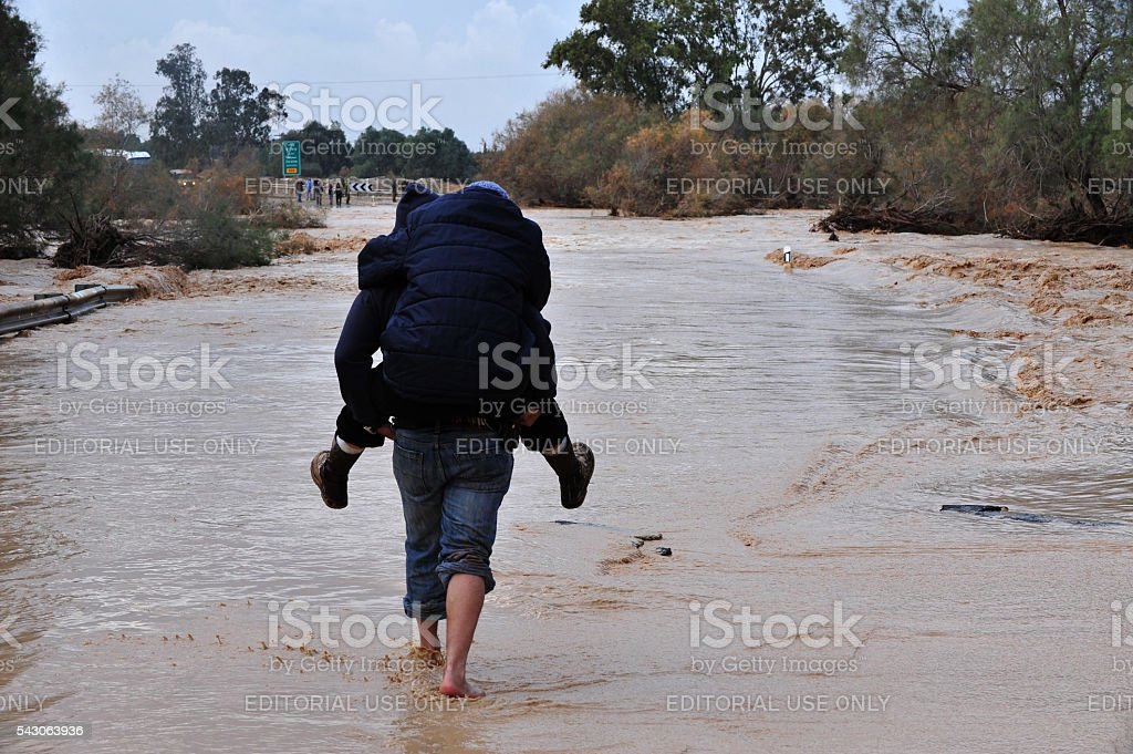 Flash Flood in South Israel stock photo