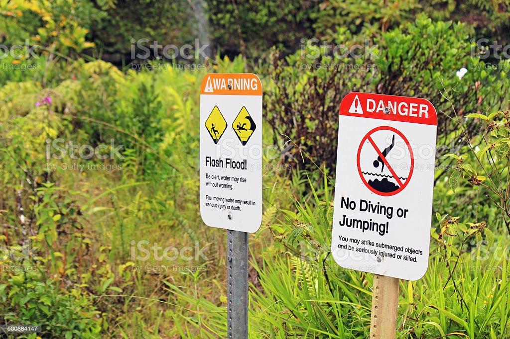 Flash Flood Warning Sign - Maui, Hawaii royalty-free stock photo