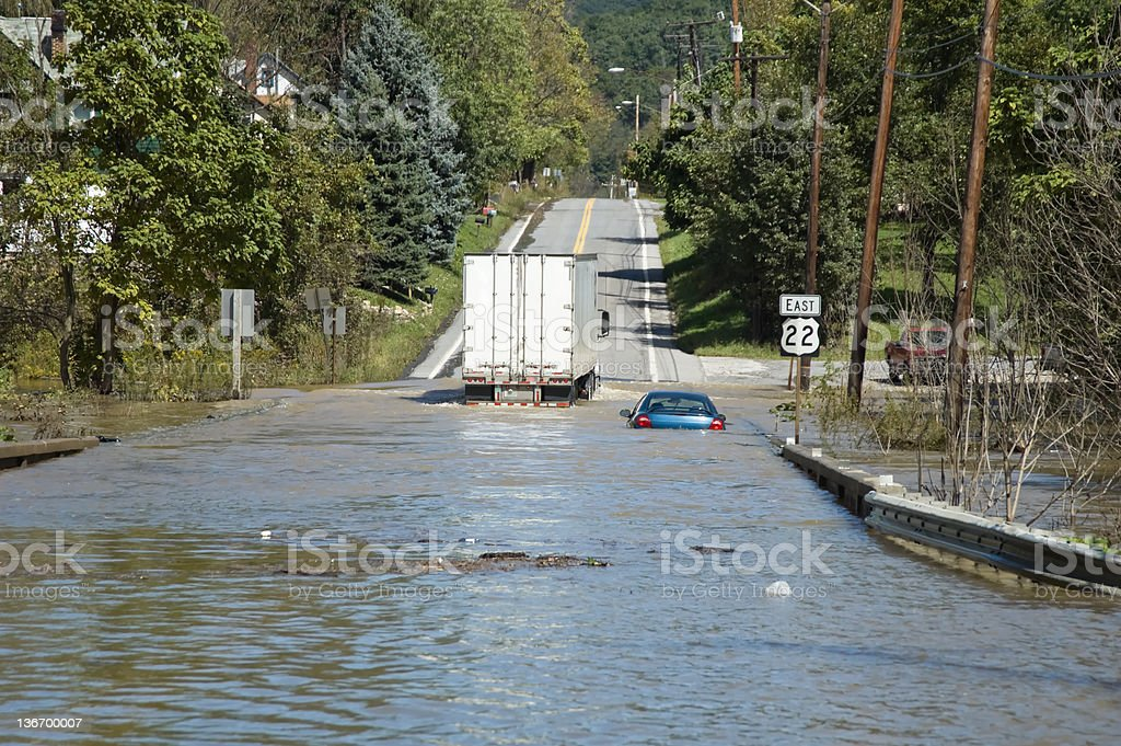Flash Flooded Road High Water Emergency royalty-free stock photo