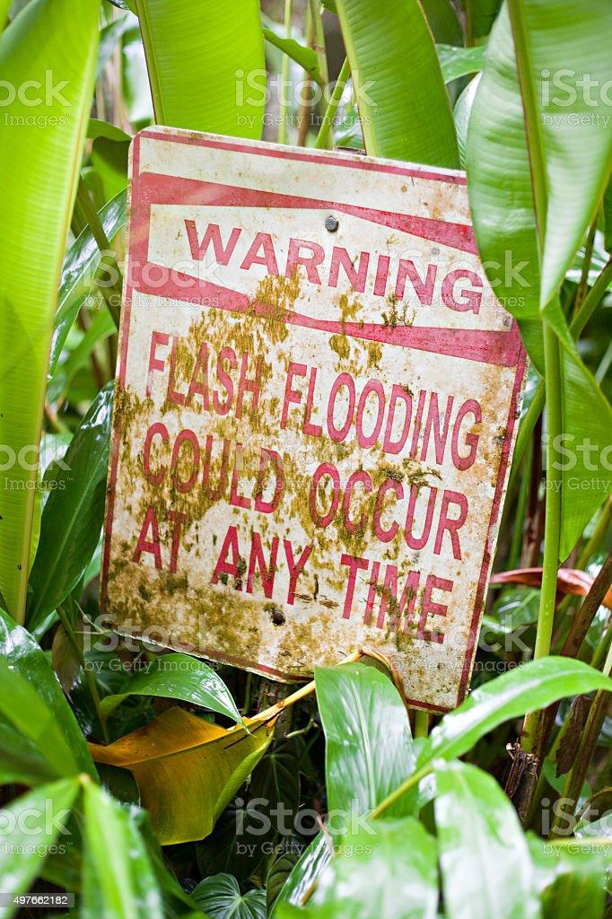 Flash Flooding Warning Sign stock photo