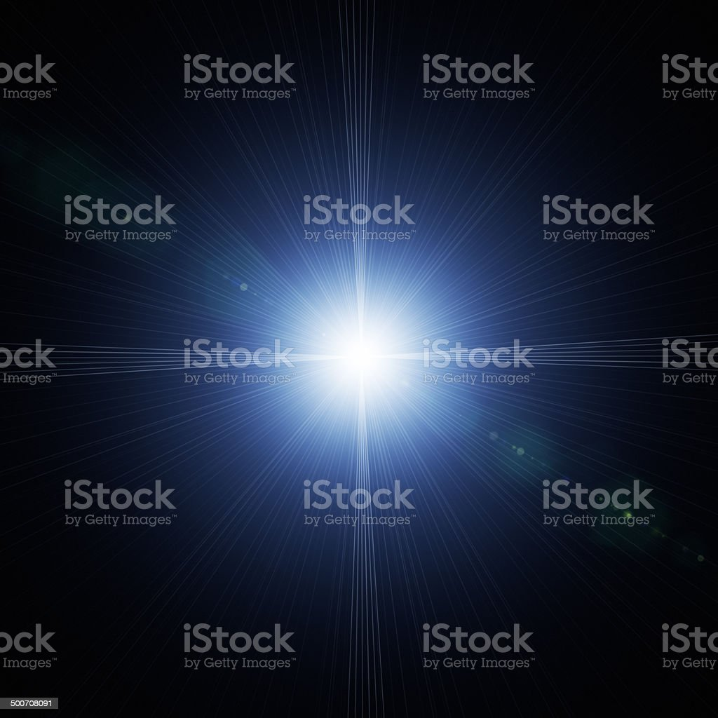Flash light with lens flare effect stock photo