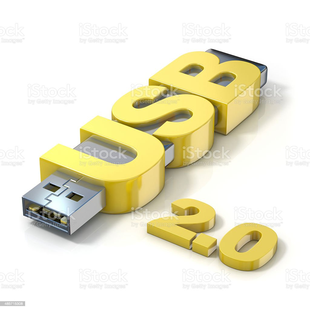 USB flash memory 2.0, made with the word USB. 3D stock photo