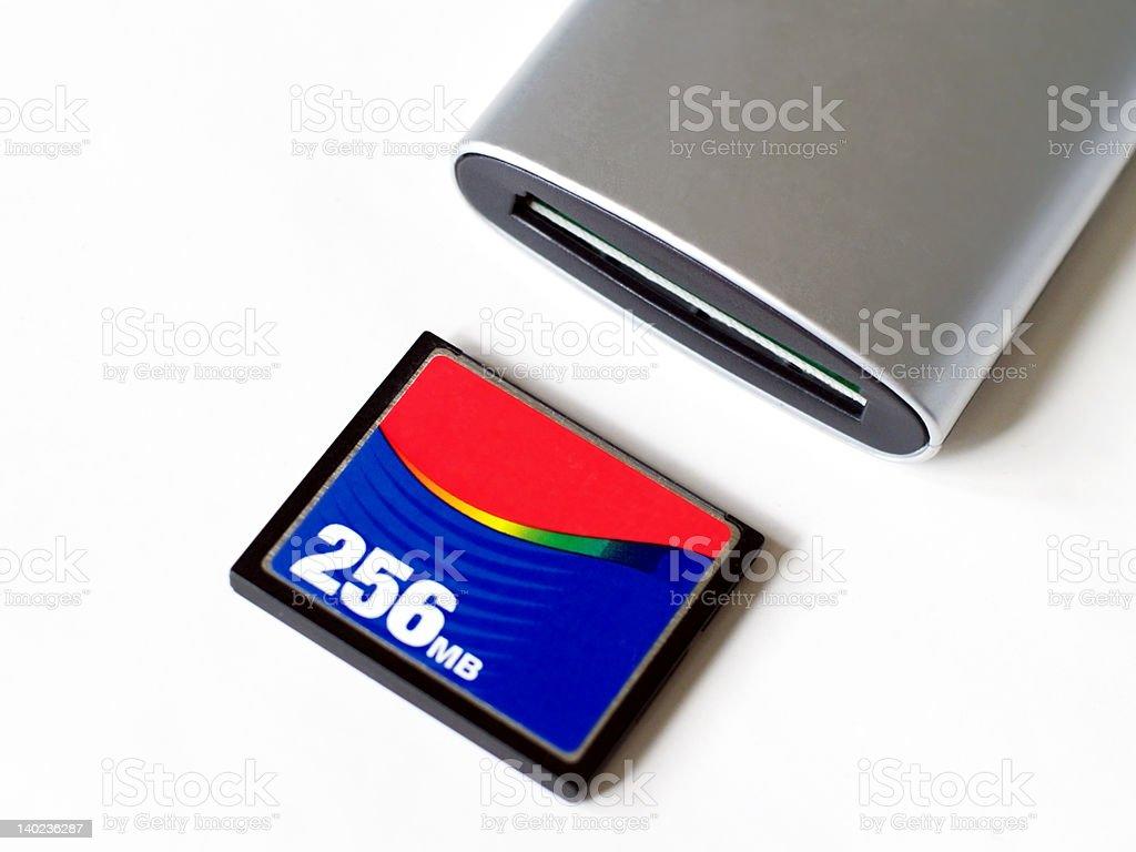 Flash memory card and reader stock photo