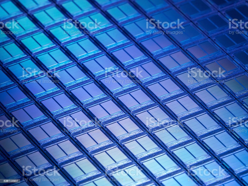 Flash Memory Wafer Macro Detail stock photo