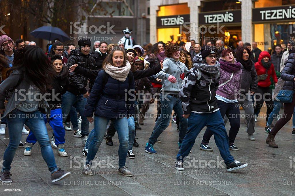 Flash Mob. Color Image stock photo