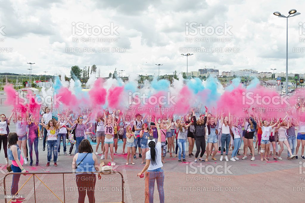 flash mob dedicated to the day of Russia stock photo