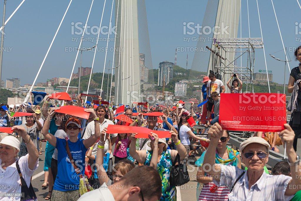 Flash mob 'I love Vladivostok'. royalty-free stock photo