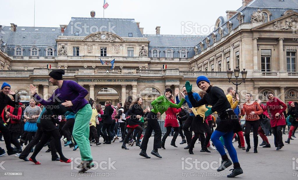 Flash mob. People dance at Palais Royal square. stock photo
