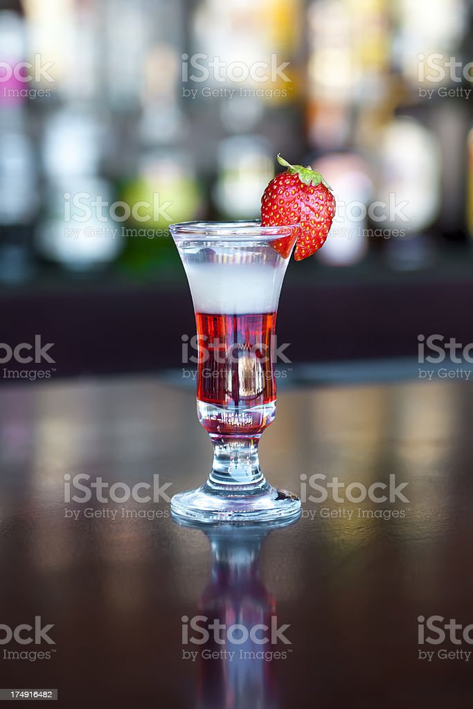 Flash popular shot cocktail on the classic black bar table stock photo