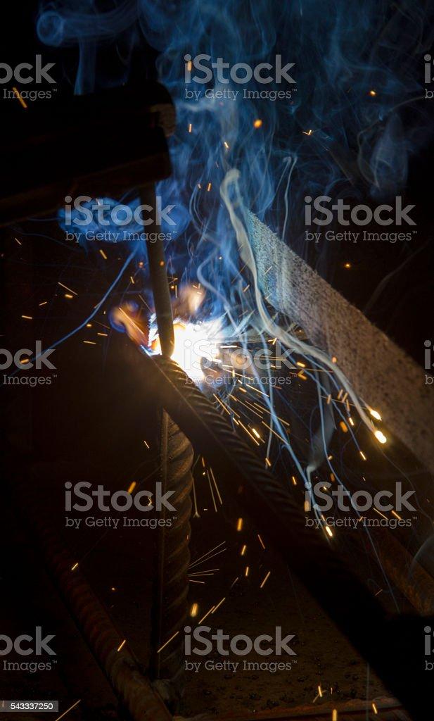 flash welding stock photo