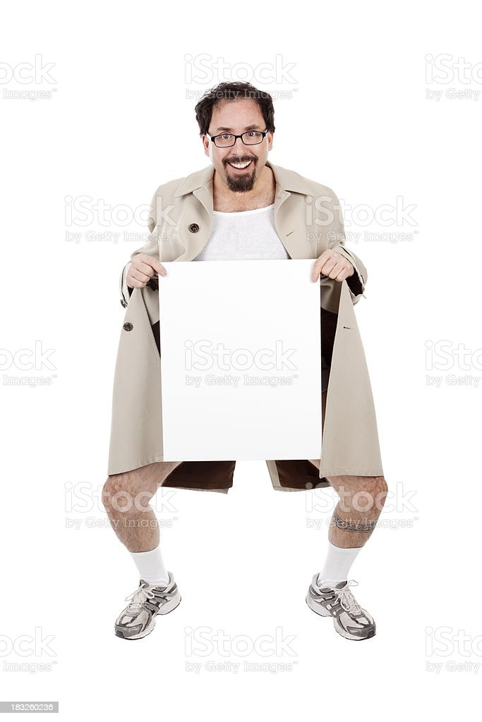 Flasher Holding Blank Sign stock photo