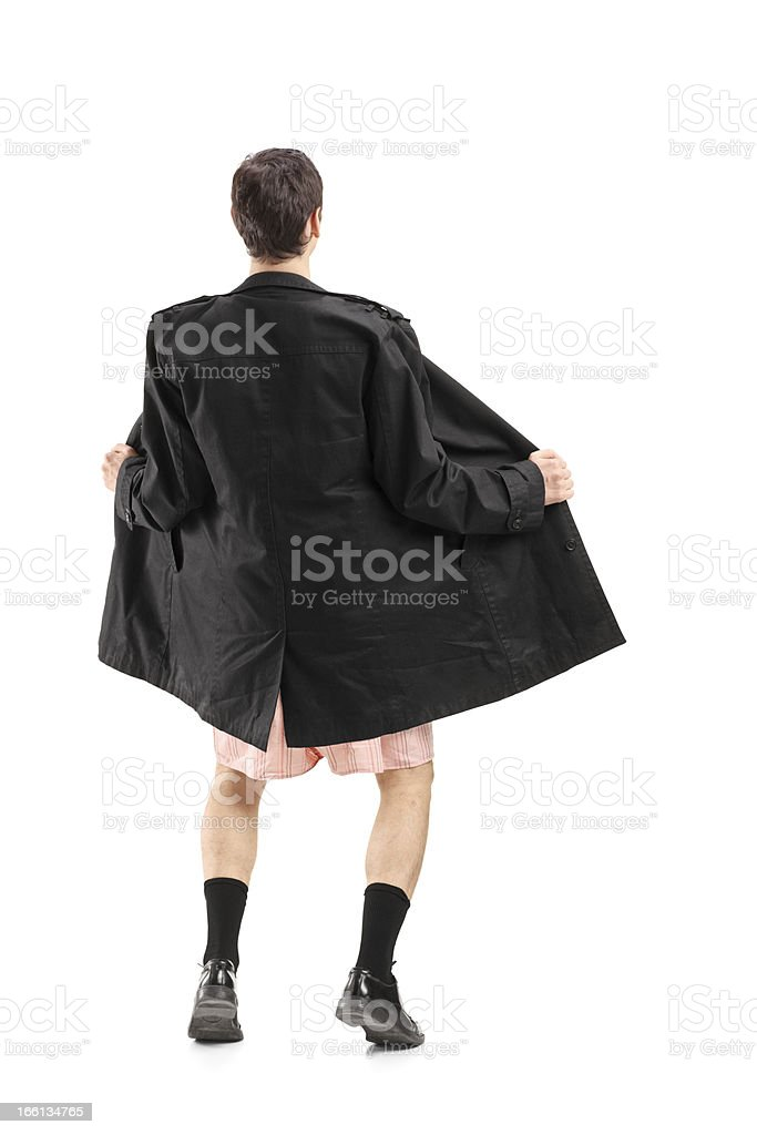 Flasher wearing coat and gesturing stock photo