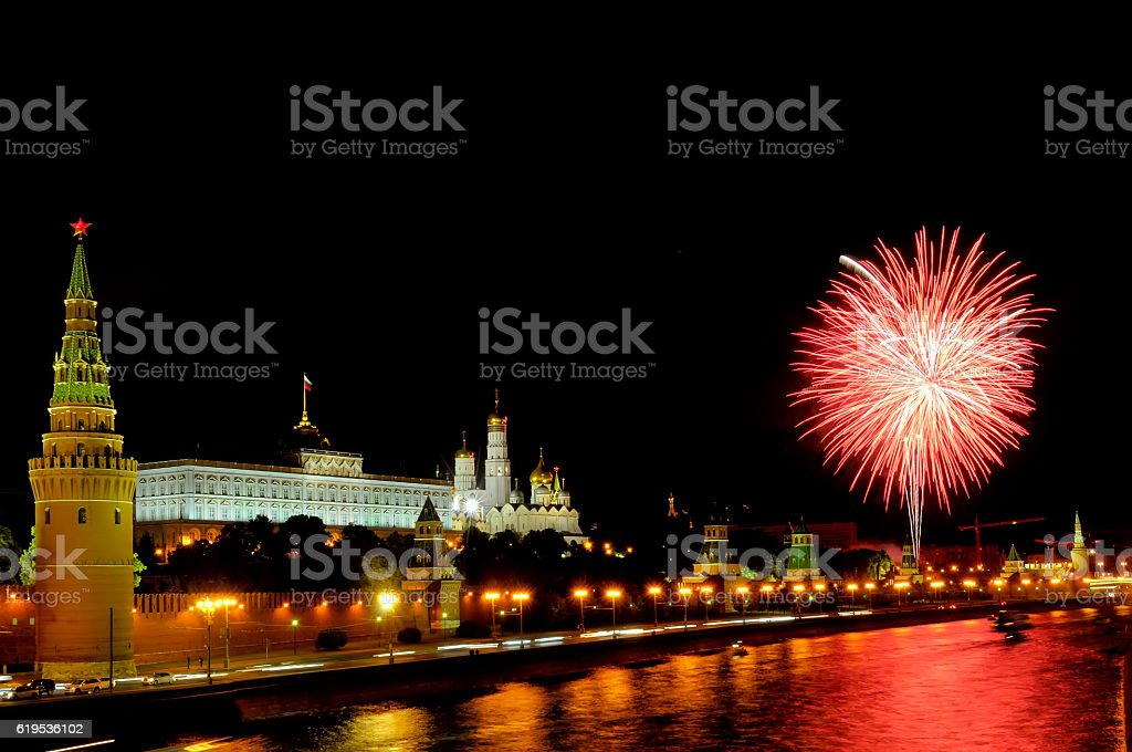 Flashes of pink and white fireworks near Moscow Kremlin stock photo