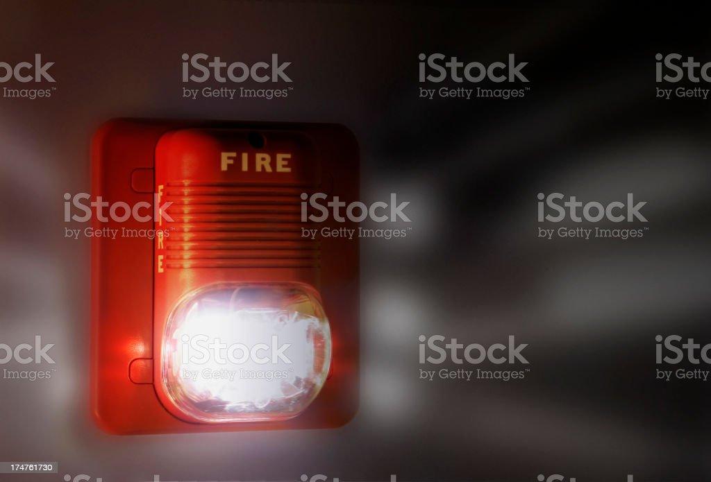 Flashing Fire Alarm stock photo
