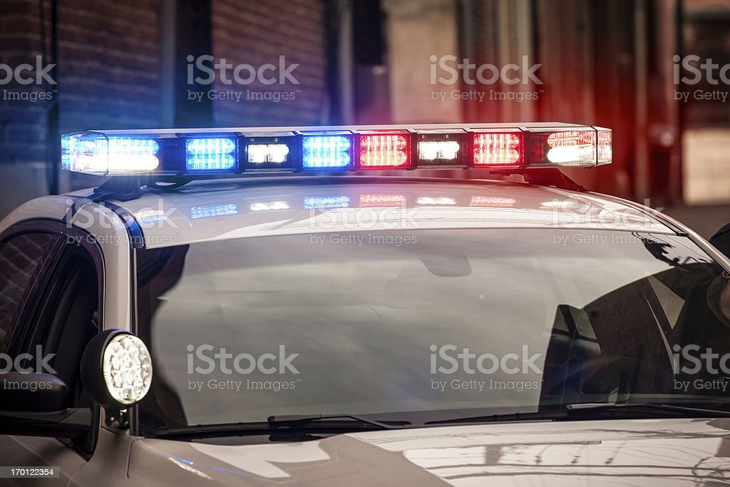 Flashing Lights on Police Car stock photo