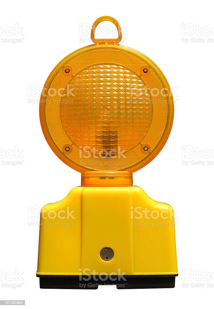 Flashing Roadside Construction Light (with clip path) royalty-free stock photo