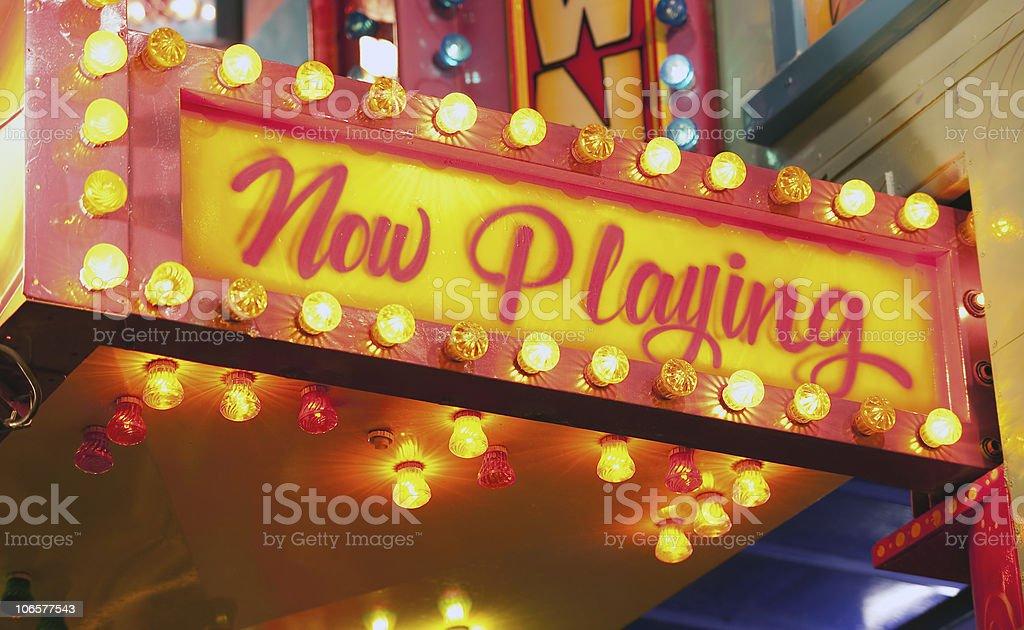 flashing sign at carnival stock photo