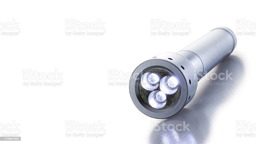 LED Flashlight close up [Clipping path] stock photo