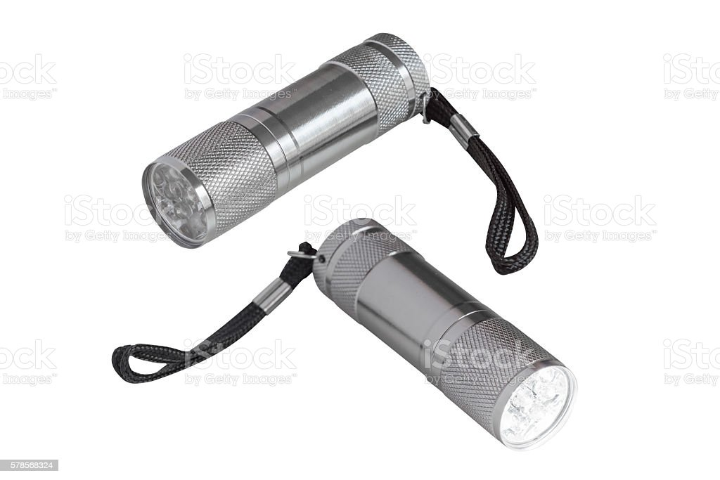 flashlight isolated on white background stock photo