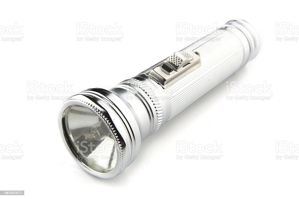 Flashlight on white background stock photo
