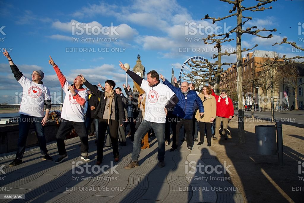 Flashmob at the Rheinpromenade in Duesseldorf stock photo